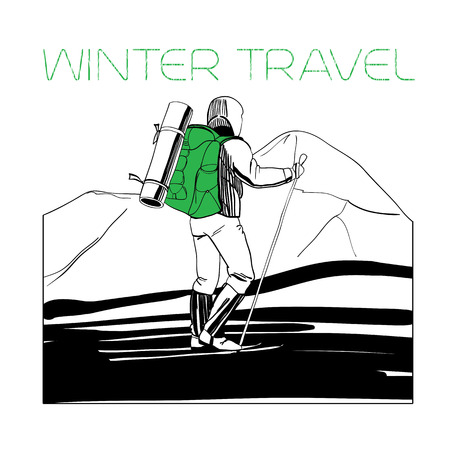 crosscountry: illustration of skier in the mountains with tent and cross-country skiing.