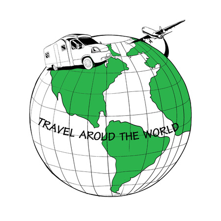 illustration of trailer traveling on the globe and plane