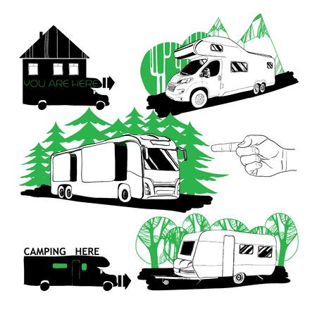 set di illustrazione di diversi camper e punti campeggio.