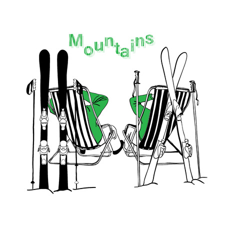 deck chair isolated: illustration of skier on vacation with skiing. Illustration