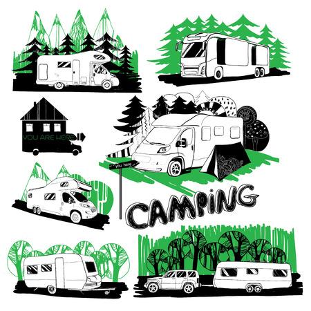 Illustrazione insieme di diverse case motoristiche e punti campeggio con sfondo foresta.