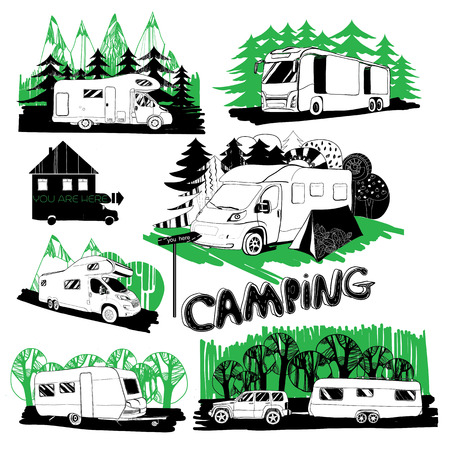campground: illustration set of different motor homes and points camping with forest background. Illustration