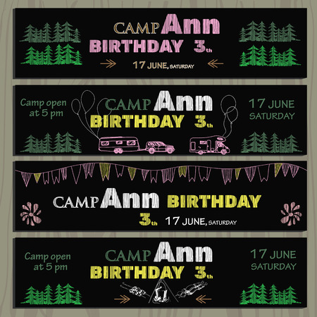 polygraph: illustartion of set of chalk board invitation for birthday in the camping