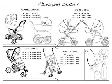 prams: illustration of graphic hand drawn prams. Template  for booklet
