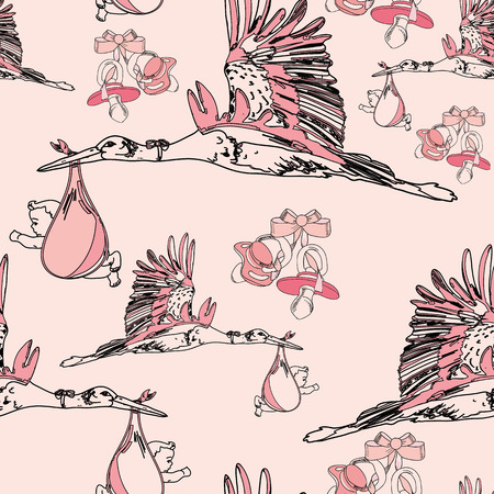 pezones: illustration of seamless pattern with nipples and  bow Vectores
