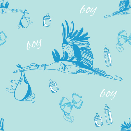 illustration of seamless pattern of stork with baby boy and bottles