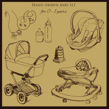 babys dummies: iilustration of retro hand drawn baby set for 0-1 years old. Include pram, auto seat and baby walker. Design template for brochure Illustration