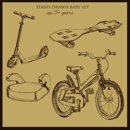 booster: illustration of hand drawn vintage baby transport include  booster car, scooter, bicycle and wave board