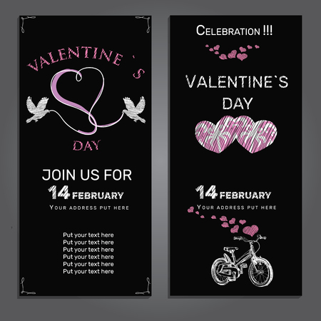 polygraph: illustration of set invitation for Valentines day on chalk board background. Teplate for celebration design, card and post card, banners