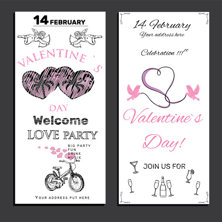 broadsheet: illustration of set invitation for Valentines day on chalk board background. Teplate for celebration design, card and post card, banners