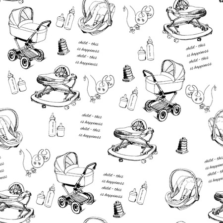 babys dummies: illustration of seamless pattern hand drawn baby pram, baby walker, bib, bottles. Design template for wrapping paper