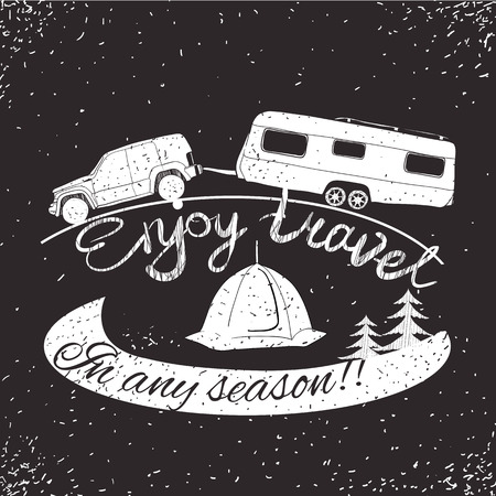 campground: illustration of lettering travel, typographic, camp calligraphy, silhouette trailer, caravan.