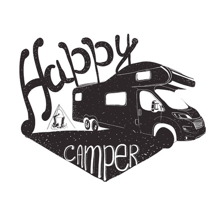 illustration of lettering travel, typographic, camp calligraphy, silhouette tent, camping.