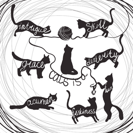 Cat quotes calligraphy lettering set on black cats silhouette. Cat is a intrigue, grace, acumen, skill, dexterity, fun, friskiness