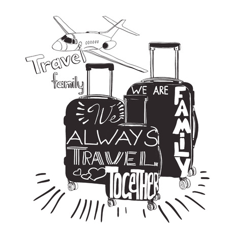 illustration Travel inspiration quotes on suitcase silhouette. Vintage lettering baggage for travel. We always travel together. We are family. Illustration
