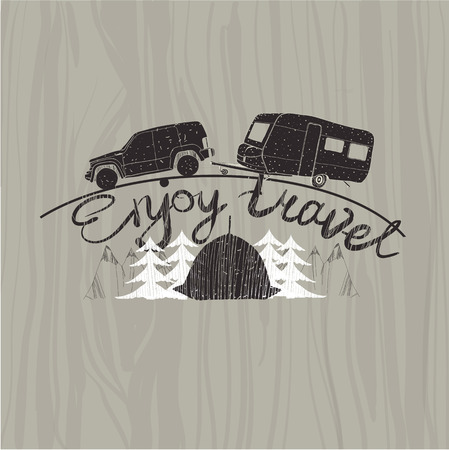 illustration of lettering travel, typographic, camp calligraphy, silhouette travel on wood background