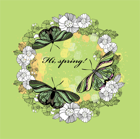 illustration of spring greeting card. Hand drawn flower, butterfly wreath with text. Decoration design for polygraph
