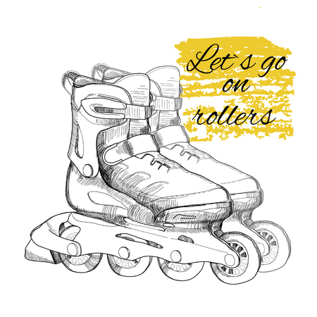roller skate: illustration of hand drawn roller skate. Graphic object for sport.