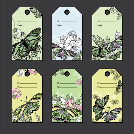 polygraph: illustration of set hand Floral gift tags with butterfly. Hand drawn graphic line card With Love. Illustration
