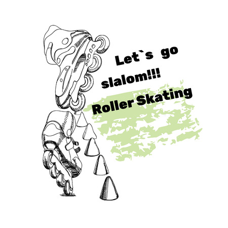 bounce: illustration of set for Roller Skates with text.