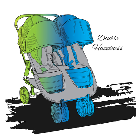 illustration of colorful Double twin Stroller, Carriage, Pram. Baby Transport for twins with text. Illustration
