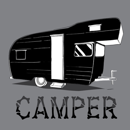 caravans: Vector illustration of isolated Hand Drawn, doodle Camper, car Recreation transport,  Vehicles Camper Vans Caravans Icons. Motor home. Object with text.