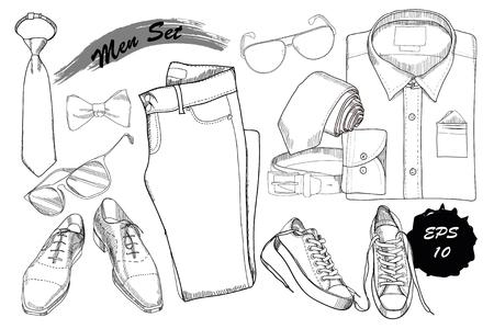 coordinacion: ilustración vectorial de dibujado a mano, coordinación doodle de doblado de camisa, corbata, pantalones, zapatos, gafas y cinturón. Hombres establecidos en el fondo de madera. Plantilla para el folleto, revista, flayer