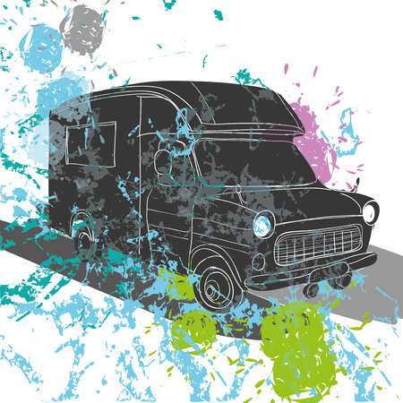 caravans: Vector illustration of isolated watercolor, spot and spray effect Camper, car Recreation transport, Vehicles Camper Vans Caravans Icons. Motor home. Object with text.