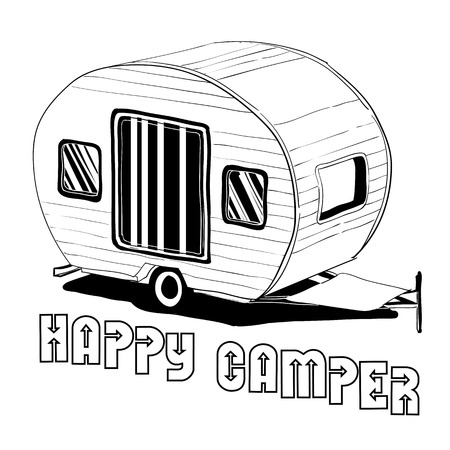 Vector illustration of isolated Hand Drawn, doodle Camper, car Recreation transport, Vehicles Camper Vans Caravans Icons. Motor home. Object with text. 일러스트