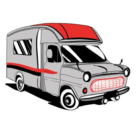 Auto usate disegnati Doodle attrezzature Mezzi di camper Roulotte Icone. Illustrazione vettoriale. grafica silhouette per la progettazione. bus camper su sfondo bianco