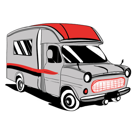 caravans: Hand drawn Doodle cars Recreational Vehicles Camper Vans Caravans Icons. Vector illustration. Silhouette graphic for design. Motorhome bus on white background