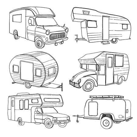 Vector illustration of Set isolated Hand Drawn, doodle Camper trailer, car Recreation transport, Vehicles Camper Vans Caravans Lines Icons. Motor home. Vetores