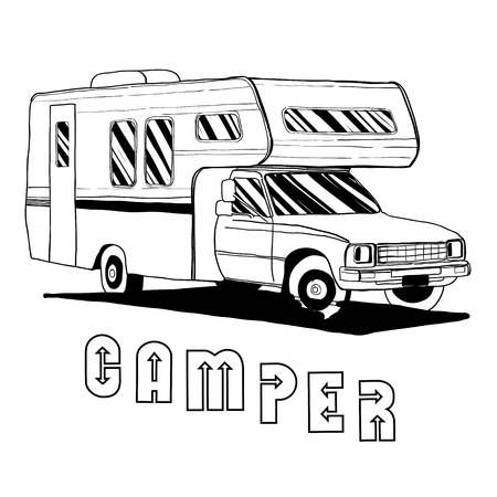 caravans: Vector illustration of isolated Hand Drawn, doodle Camper, car Recreation transport, Vehicles Camper Vans Caravans Icons. Motor home. Object with text. Illustration