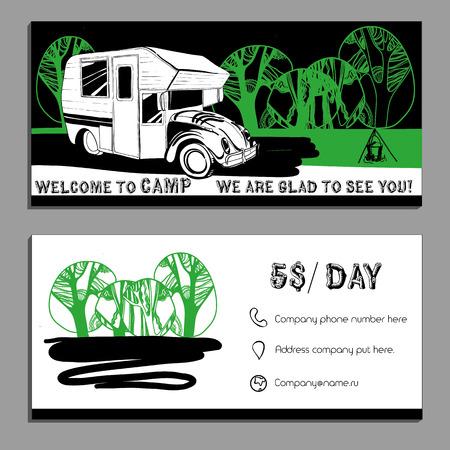 Illustrazione vettoriale della carta Bussines, volantini, depliant con le automobili Recreational Vehicles camper Caravan icona, modello di scheda, Trasporto invito per Camp. Vettoriali
