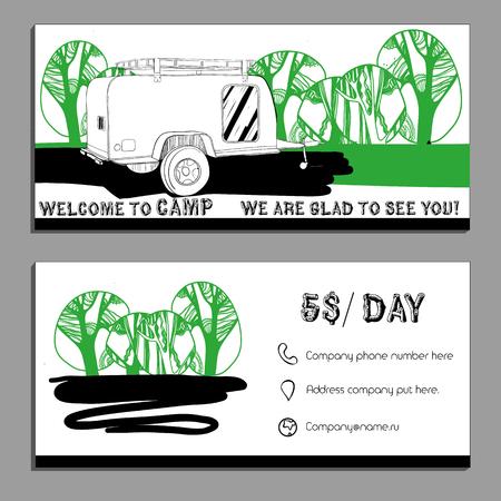 Illustrazione vettoriale della carta Bussines, flyer, volantino con le automobili Recreational Vehicles camper Caravan icona, modello di scheda,, Trasporto invito per Camp.