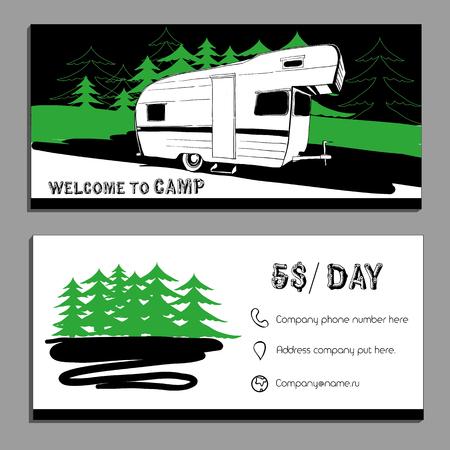Illustrazione vettoriale della carta Bussines, volantini, depliant con le automobili Recreational Vehicles camper Caravan icona, modello di scheda, Trasporto invito per Camp.