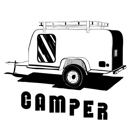 camper trailer: Vector illustration of isolated Hand Drawn, doodle Camper trailer, car Recreation transport, Vehicles Camper Vans Caravans Icons. Motor home. Object with text. Illustration