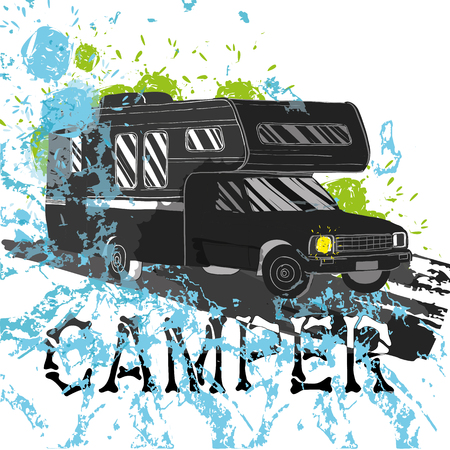 caravans: Vector illustration of isolated watercolor, spot and spray effect Camper, car Recreation transport, Vehicles Camper Vans Caravans Icons. Motor home for textile