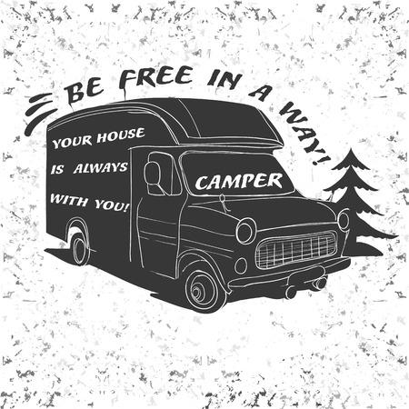 Ilustración del vector de desplazamiento de la vendimia letras, Camper Vehículos Utilitarios caravanas tipografía, caligrafía campamento, remolque silueta, caravana. Imprimir para la industria textil con el texto