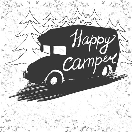 caravans: Vector illustration of Vintage lettering travel, Vehicles Camper Vans Caravans typographic, camp calligraphy, silhouette trailer, caravan. Print for textile with text