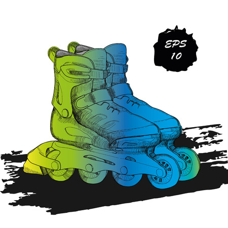 bounce: Vector illustration of Roller Skates. Isolated object for logo hand drawn, doodle elements. Template Roller Derby. Teenager sport. Watercolor effect Illustration