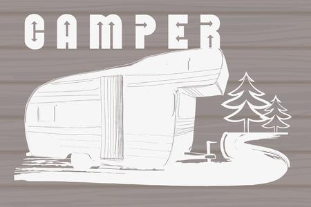 Ilustración del vector de la mano de la vendimia diseño logotipos dibujados en el fondo de madera, remolque Camper, transporte Recreación coche, Camper Vehículos Utilitarios Caravanas iconos, insignias, sello, impresión, tipos, signo.