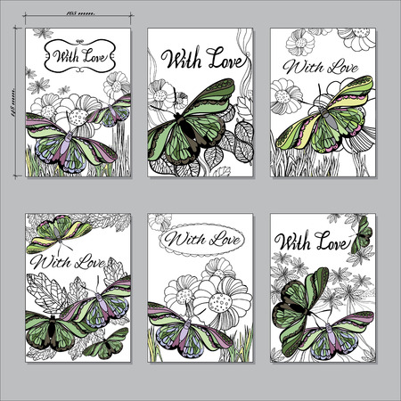 a6: Vector illustration of set hand Floral card a6 with butterfly. Hand drawn graphic line card With Love.