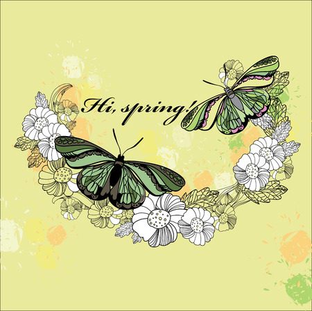 polygraph: Vector illustration of spring card. Hand drawn flower, wreath with butterfly and  text. Decoration design for polygraph