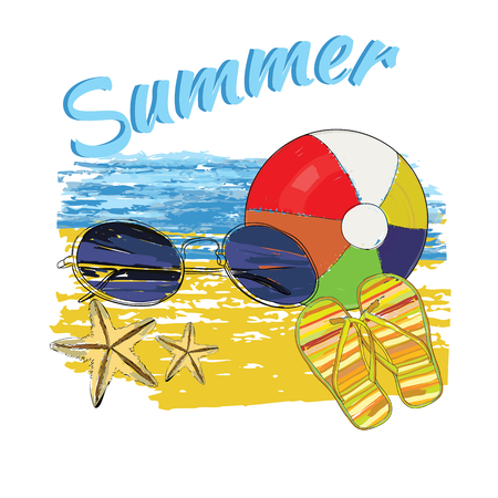 Vector illustration of background summer with lettering,ball, sunglasses, shales, sky and sea. Illustration