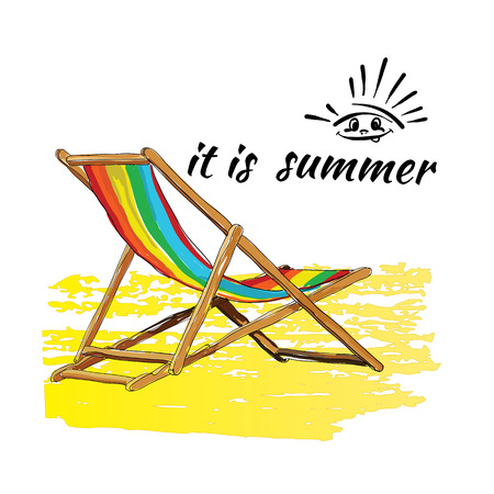 Vector illustration of background summer with lettering,recliner on the sand. It is summer. Logo sun.Hand drawn sketch elements for beach.
