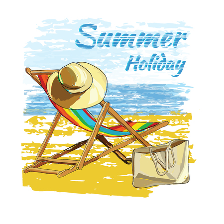 Vector illustration of background summer with lettering,recliner on the sand with hat. Summer holiday. Hand drawn sketch elements for beach. Illustration