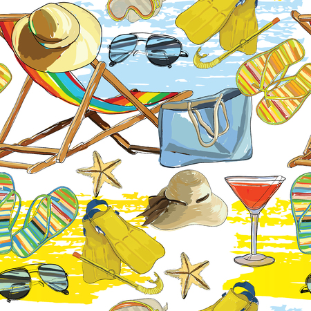 grit: Vector illustration of seamless pattern summer, recliner on the sand with hat, sunglasses, ball and Slide Beach Sandal. Summer holiday. Hand drawn sketch elements for wrapping paper, web, wallpaper, Illustration