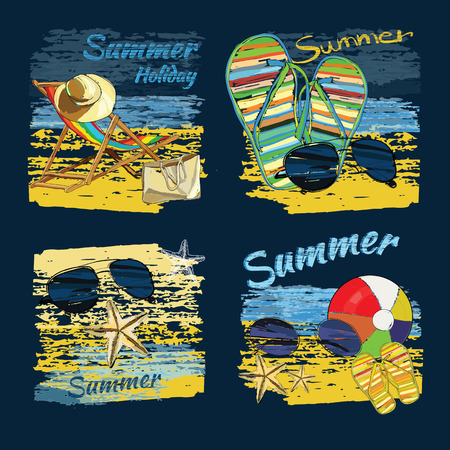 Vector illustration of set background summer with lettering texts,recliner on the sand with hat, sunglasses, ball and Slide Beach Sandal. Summer holiday. Hand drawn sketch elements for beach.