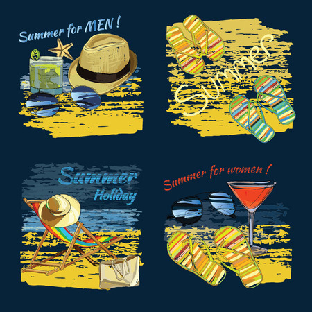 sand beach: Vector illustration of set background summer with lettering texts,recliner on the sand with hat, sunglasses, ball and Slide Beach Sandal. Summer holiday. Hand drawn sketch elements for beach.